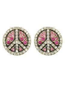 Hotpink Round Fancy Stud Earrings
