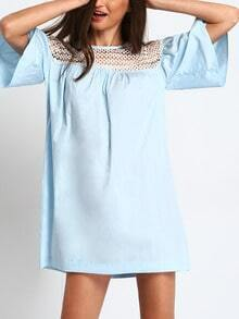 Light Blue Bell Sleeve Eyelet Shift Dress