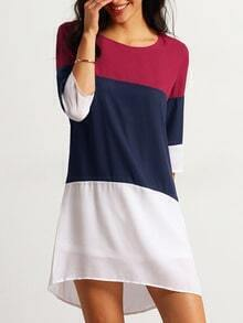 Red White Banded Half Sleeve Color Block Dress