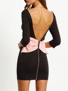 Black Backless Contrast Bow Bodycon Dress