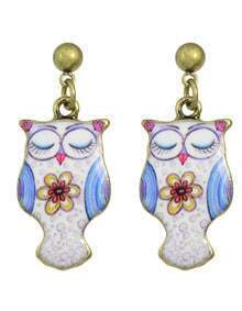 White Owl Animal Dangle Earrings