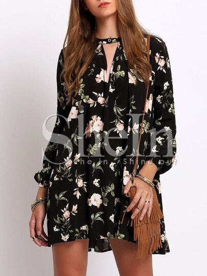 Black Lantern Sleeve Floral Print Shift Dress