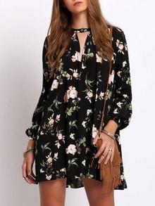 Vestito cascante stampa floreale con maniche a lanterna - nero
