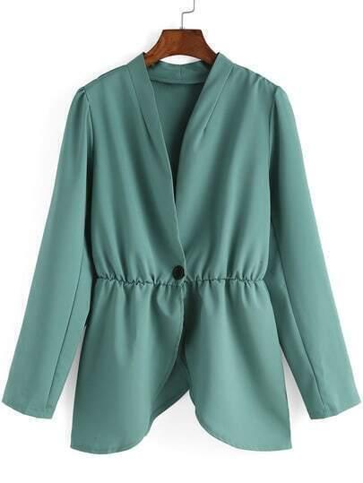 V Neck Single Button Green Blazers