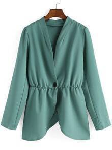 V Neck Single Button Green Blazers