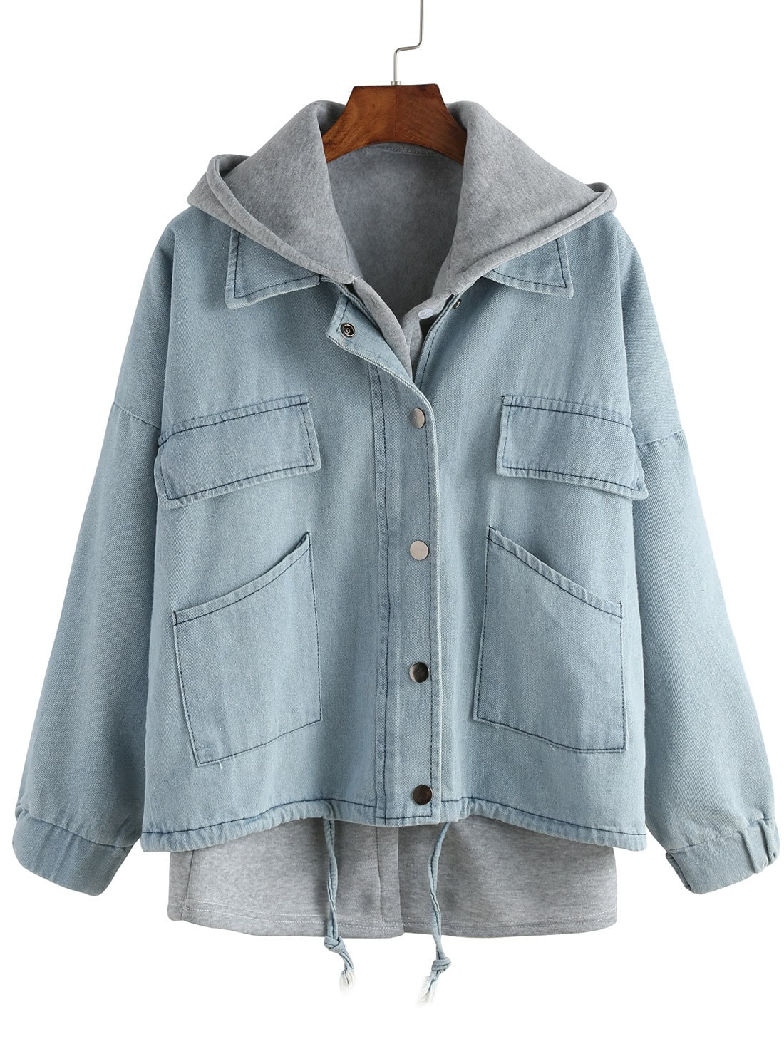 Купить Hooded Drawstring Denim Two Pieces Outerwear