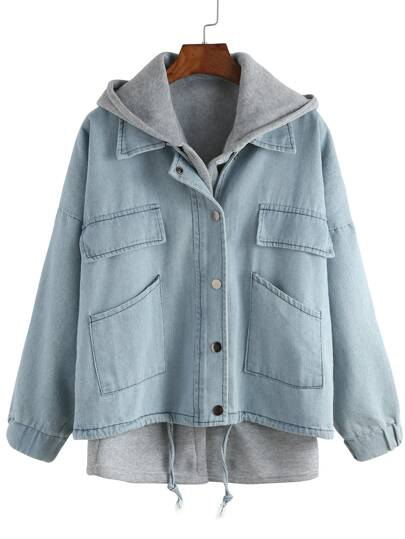 Hooded Drawstring Denim Two Pieces Outerwear