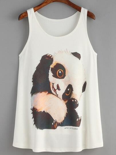 White Panda Print Tank Top