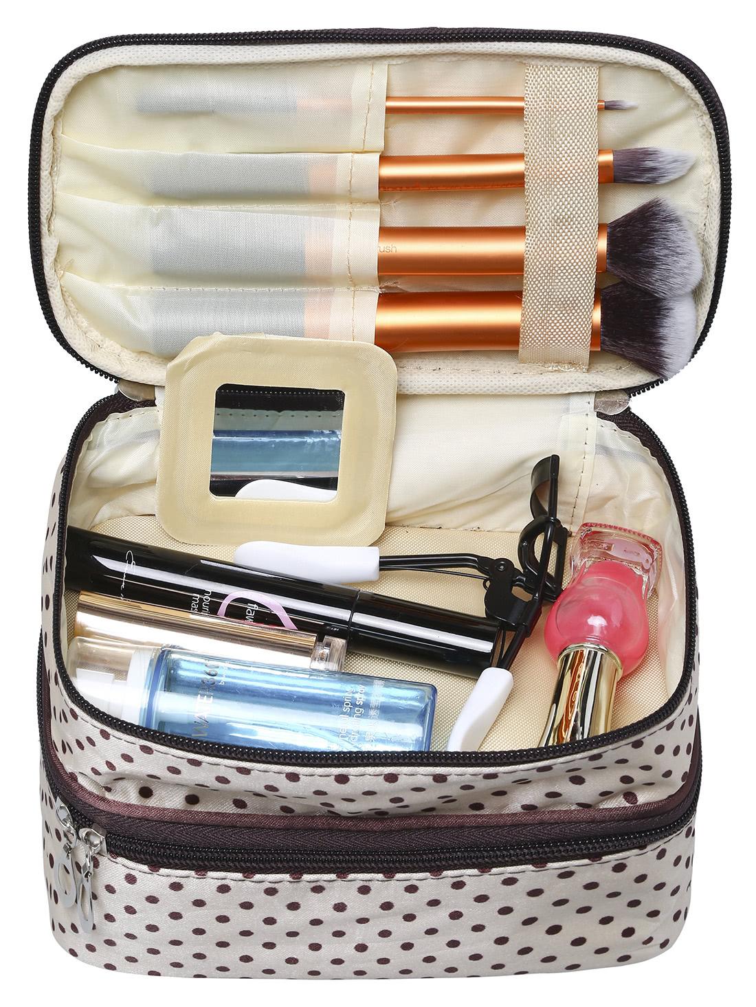 Beige Polka Dot Double Layers Cosmetic Bag transer jasmine polka dot flip double zipper cosmetic bag 0213 drop shipping