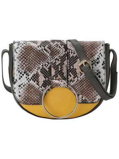 Snakeskin PU Crossbody Bag With Oversized Ring