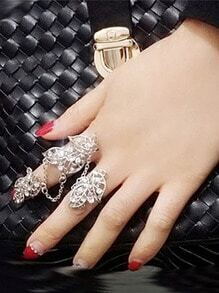 Silver Leaf Double Finger Rings