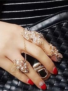Gold Leaf Double Finger Rings