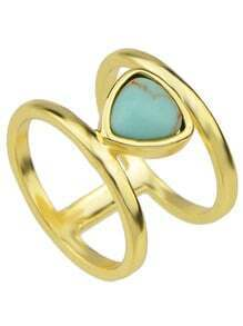 Blue Turquoise Round Metal Rings