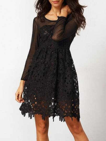 Lbd Long Sleeve Embroidered Lace Flare Dress