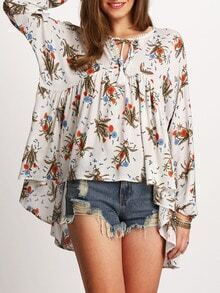 White Tie Neck Floral Print Asymmectric Ruffle Blouse