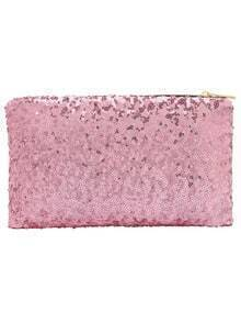 Pink Zipper Sequined Clutch Bag