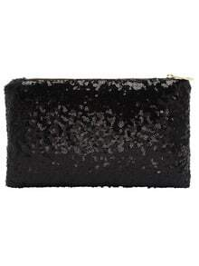 Zipper paillettes Pochette nero