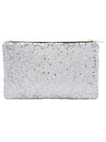 Silver Zipper Sequined Clutch Bag