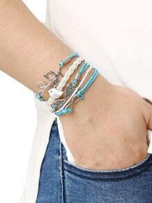 Braided Leather Bracelet With Leave And Owl