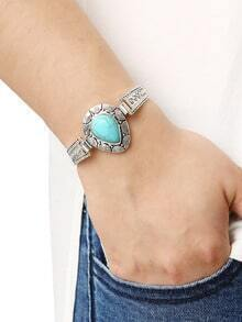 Teardrop Turquoise Set-in Carved Bracelet