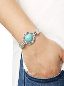Round Turquoise Set-in Carved Bracelet