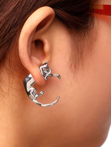 Sliver Punk Style Cat Single Earring