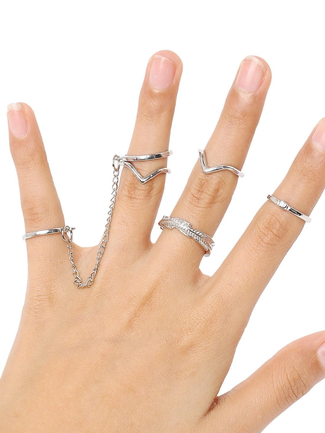 Silver 6pcs Leaves RingsSilver 6pcs Leaves Rings<br><br>color: None<br>size: None