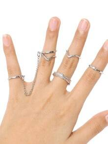 Silver 6pcs Leaves Rings