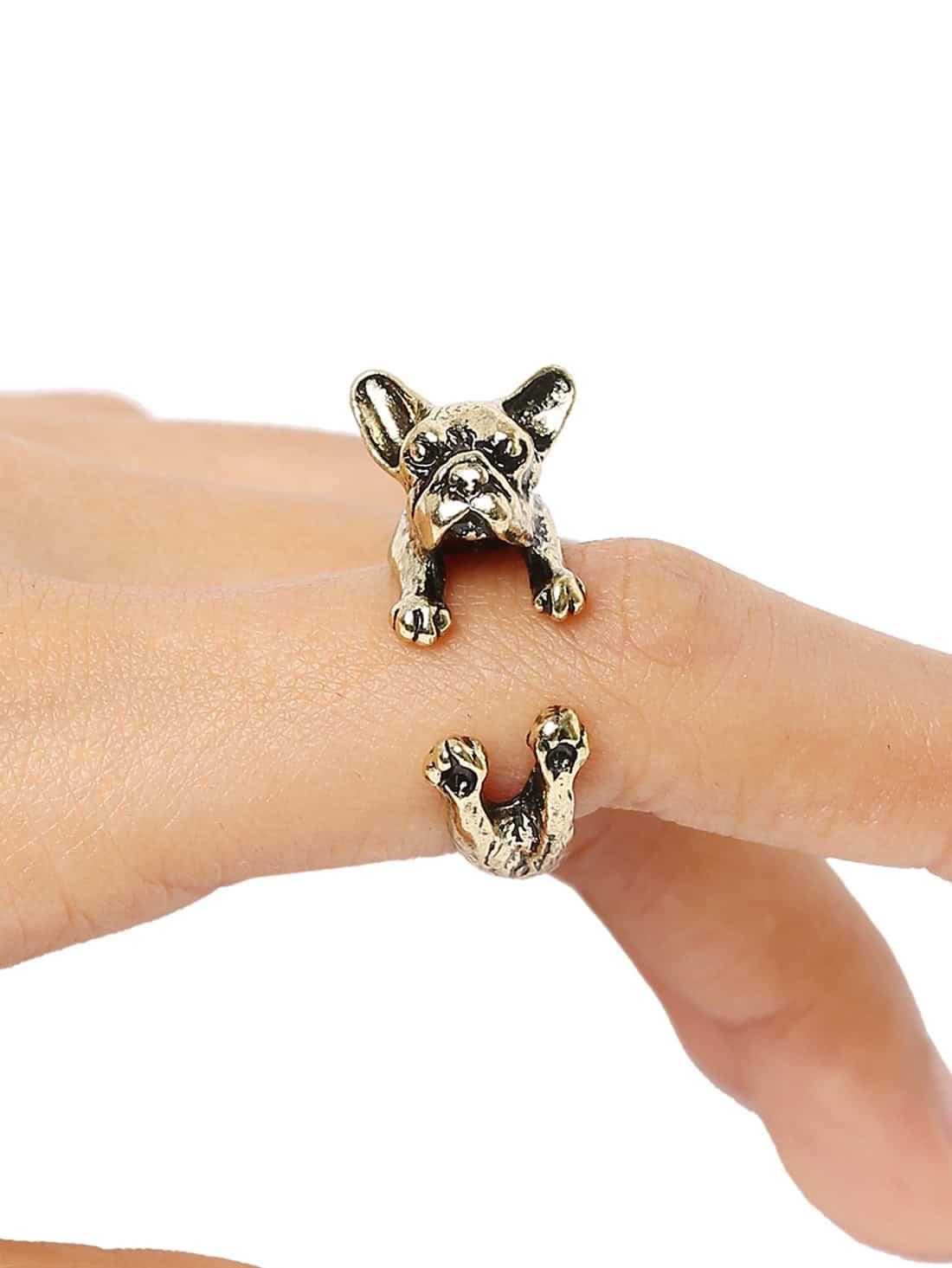 """Золотистое оригинальное кольцо """"Bulldog"""""""
