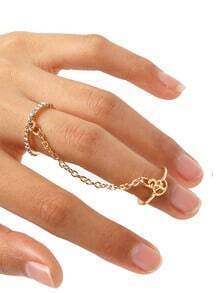 Silver Crystal Peace Logo Finger Chain Ring