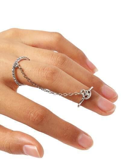 armband mit ring mit kristall besetzt silber german shein sheinside. Black Bedroom Furniture Sets. Home Design Ideas