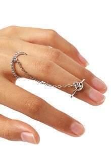 Golden Crystal Peace Logo Finger Chain Ring