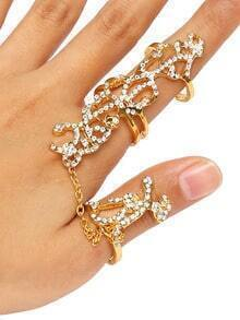 Golden Tree Branches Shape Rhinestone Fineger Chain Ring