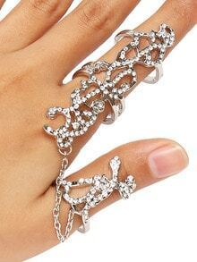 Silver Tree Branches Shape Rhinestone Fineger Chain Ring