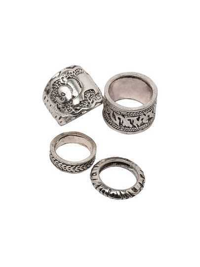 Silver Vintage Carved Stack Rings