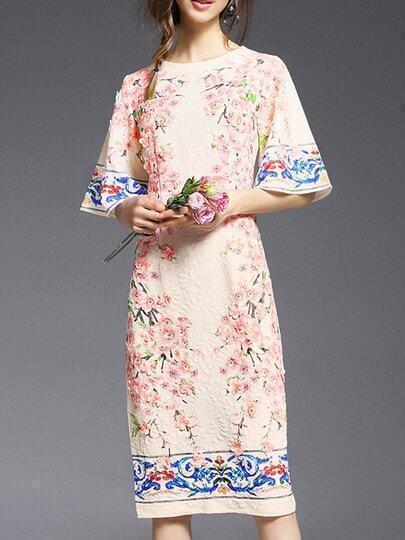 White Bell Sleeve Jacquard Flowers Shift Dress