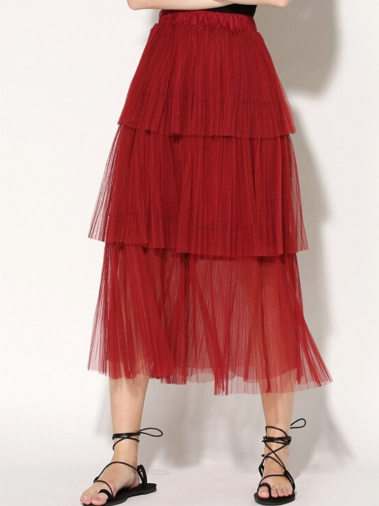 maroon pleated tiered mesh skirt shein sheinside