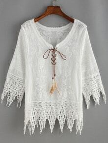 White Lace Up Embroidered Scalloped Hem Shirt