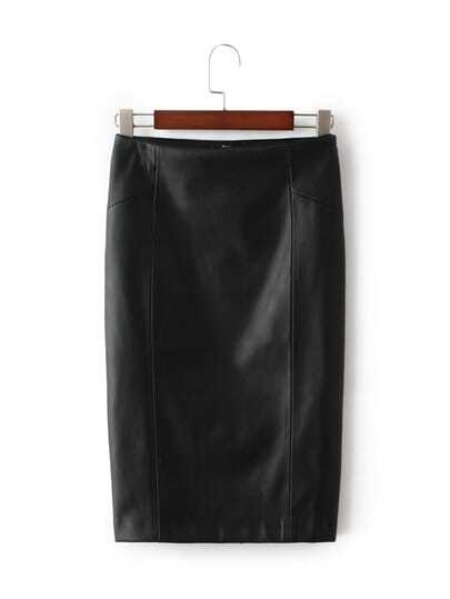 Black Bodycon Split Leather Skirt