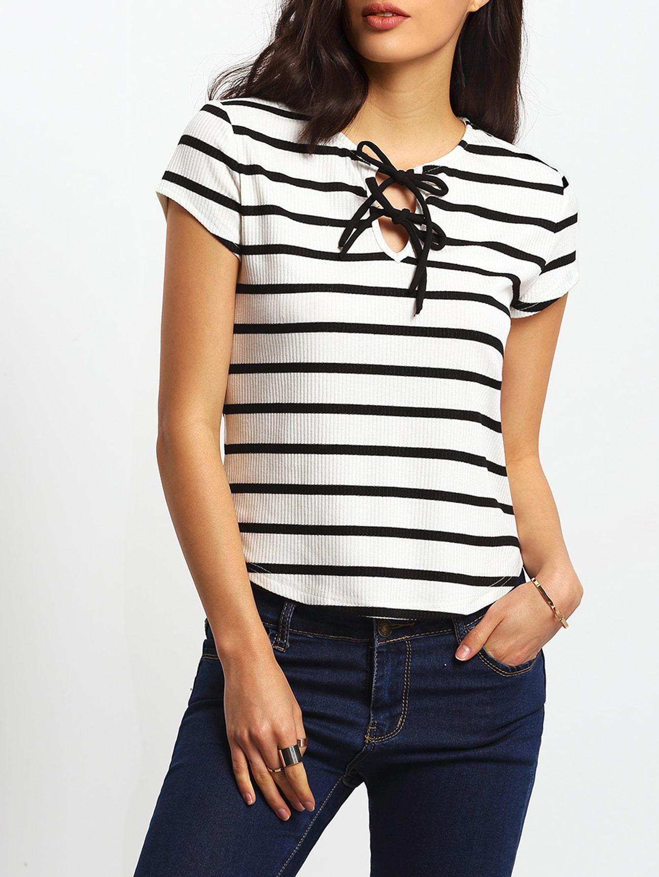 Black White Short Sleeve Self Tie Neck Shirt Shein