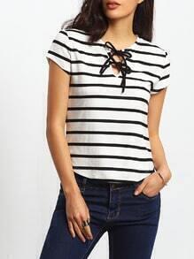 Black White Short Sleeve Self-tie Neck -shirt