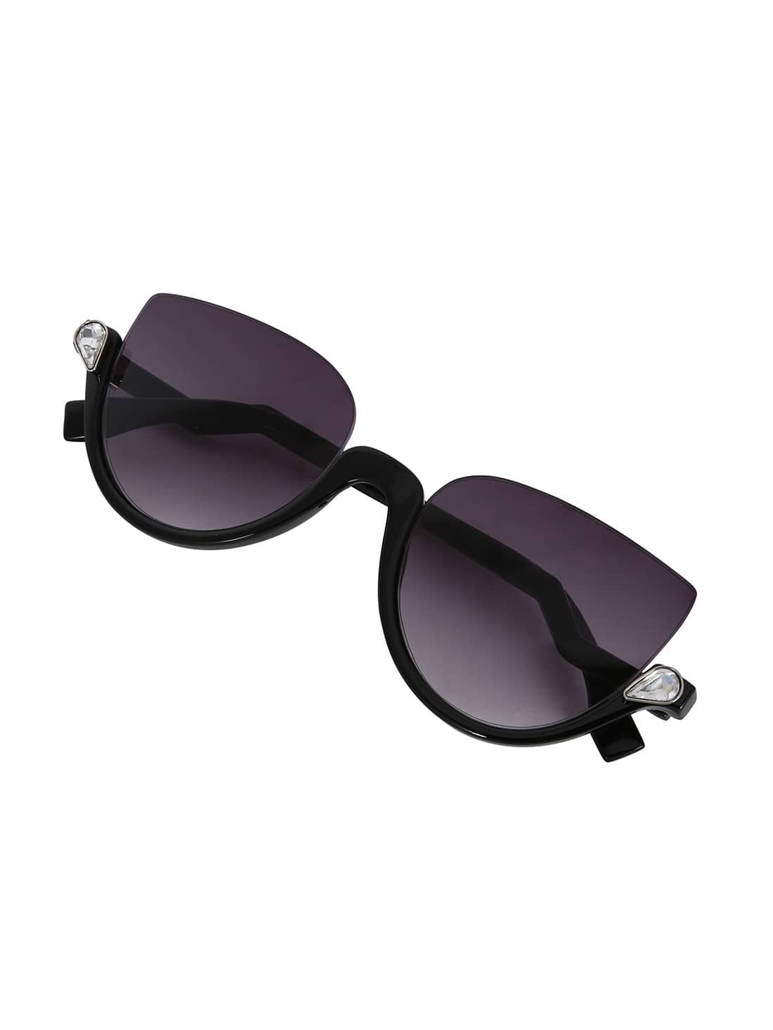 Cat Eye Black Half Frame Sunglasses -SheIn(Sheinside)