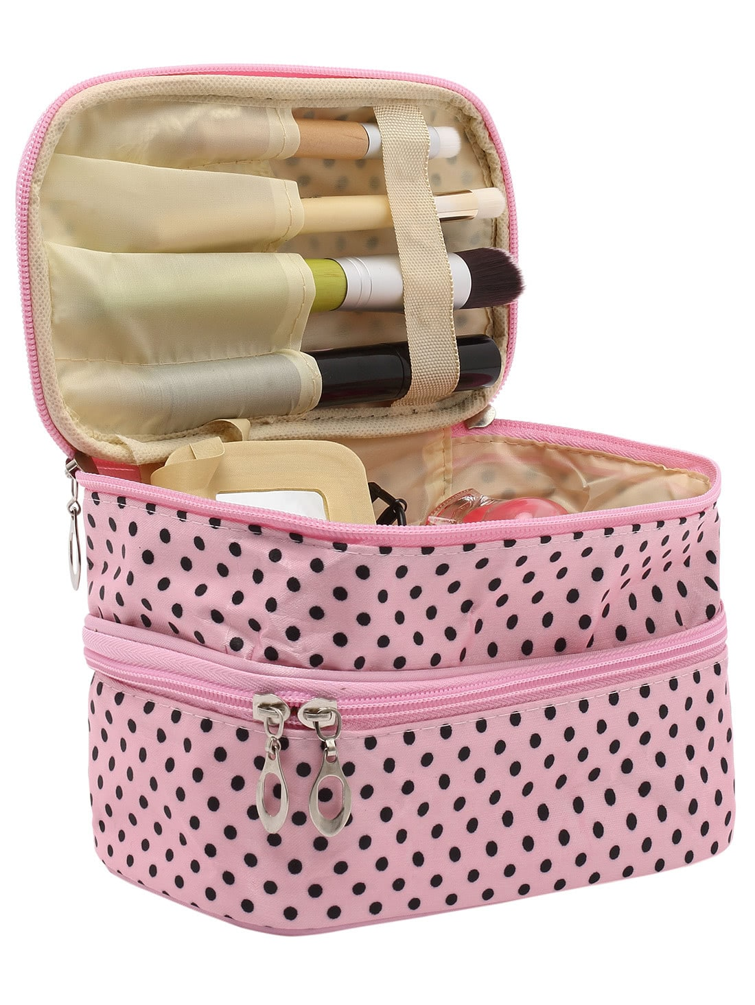Pink Polka Dot Double Layers Cosmetic Bag transer jasmine polka dot flip double zipper cosmetic bag 0213 drop shipping