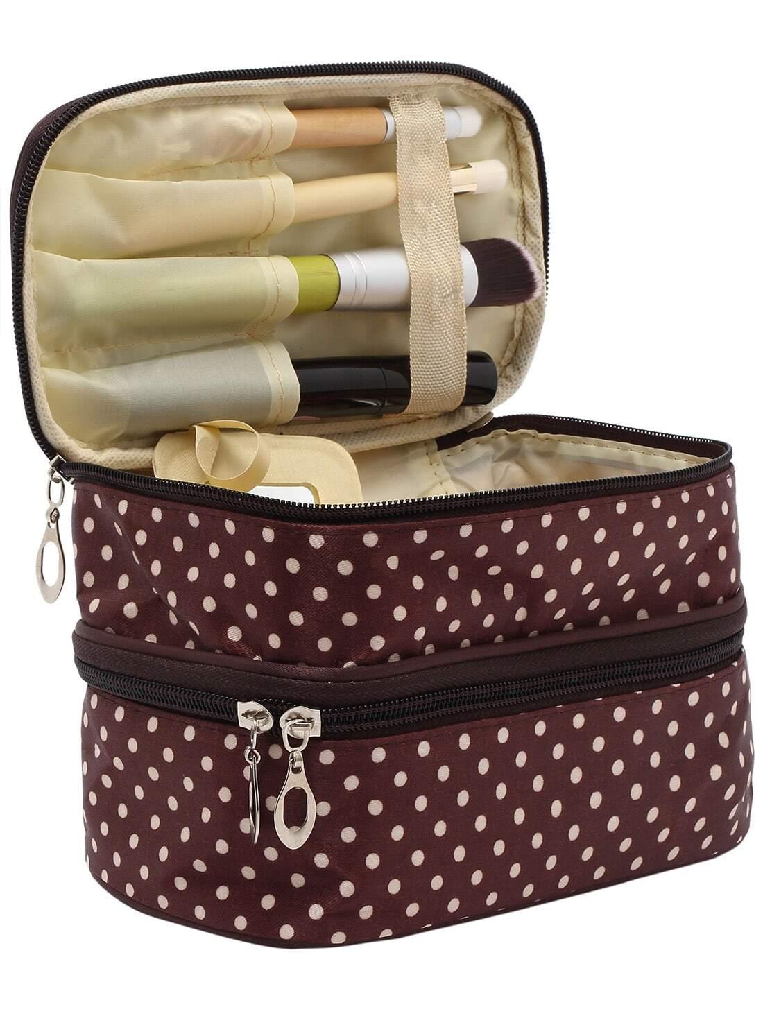 Coffee Polka Dot Double Layers Cosmetic Bag transer jasmine polka dot flip double zipper cosmetic bag 0213 drop shipping