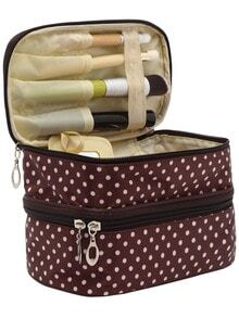 Coffee Polka Dot Double Layers Cosmetic Bag
