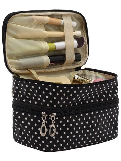 Black Polka Dot Double Layers Cosmetic Bag