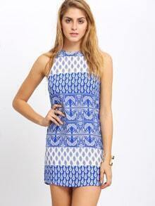 Multicolor Keyhole Back Tribal Print Dress