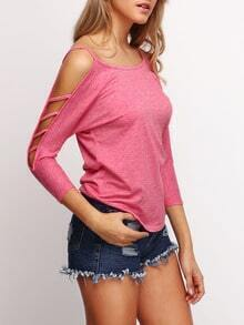 Pink Cold Shoulder Loose Woman T-Shirt