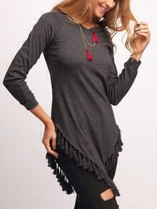 Grey V Neck Tassel Loose Knitwear