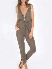 Army Green Cross V Neck Tie-Waist Backless Jumpsuit